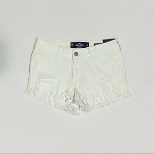 white ripped hollister shorts